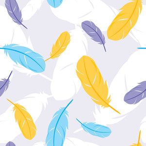 Vector Seamless Pattern With Feathers. Vector Illustration