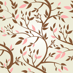 Vector Seamless Pattern With Spring Branches--