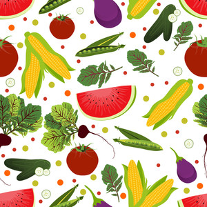 Vector Seamless Pattern With Vegetables And Fruits.