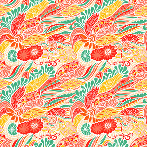 Vector Seamless Texture With Abstract Flowers. Endless Background. Ethnic Seamless Pattern. Vector Backdrop. Bright Pattern. Summer Template. Use For Wallpaper