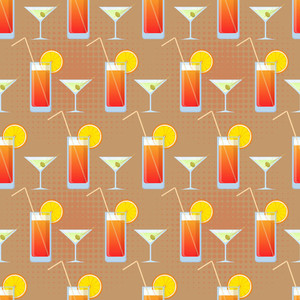 Vector Seamless Texture With Cocktails And Martini.