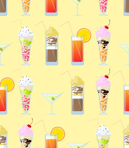 Vector Seamless Texture With Cocktails And Milkshakes.