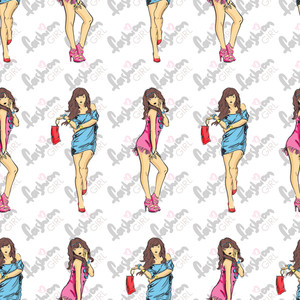 Vector Seamless Texture With Fashion Girls In Sketch-style.