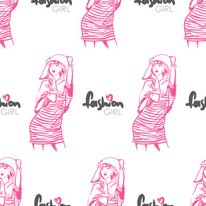 Vector Seamless Texture With Fashion Girls In Sketch-style