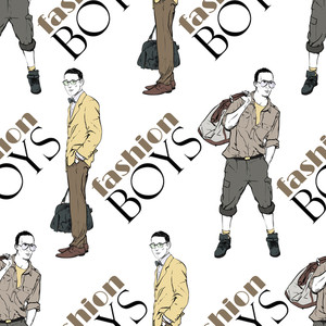 Vector Seamless Texture With Stylish Guys.