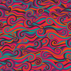 Vector Seamless Wave Hand-drawn Pattern