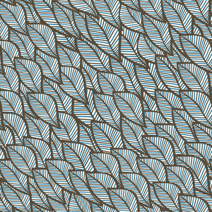 Vector Seamless Winter Texture With Leaf In Blue Theme