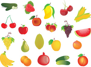 Vector Set Of 20 Fresh Fruits