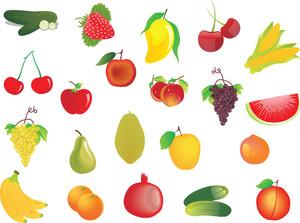 Vector Set Of 20 Fresh Fruits