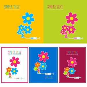 Vector Set Of  Abstract Cards With Syringe And Flowers.