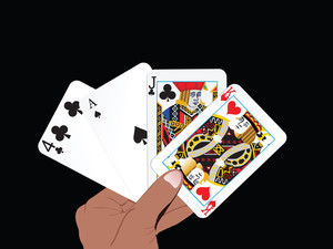 Vector Set Of Abstract Playing Card In The Hand