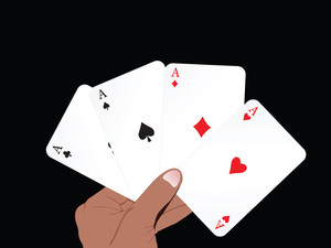 Vector Set Of Ace On Abstract Playing Card Background