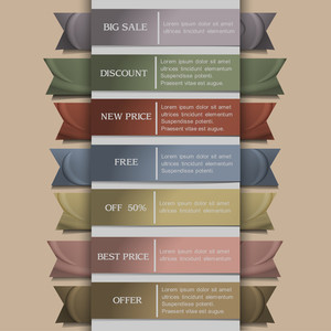 Vector Set Of Banner Or Ribbons