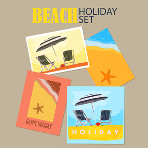 Vector Set Of  Beach Holiday Cards.