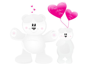 Vector Set Of Bear With Romantic Balloons