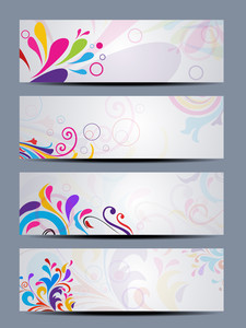Vector Set Of Beautiful Colorful Floral Headers