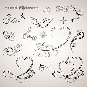 Vector Set Of Calligraphic Elements.