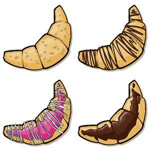Vector Set Of Cartoon Croissants