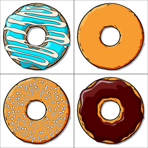 Vector Set Of Cartoon Donuts.