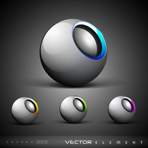 Vector Set Of Colourful  3d Modern Icon