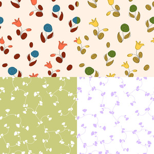 Vector Set Of Floral Seamless Pattern.