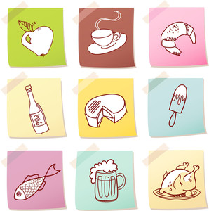 Vector Set Of Food Icon On Note Paper