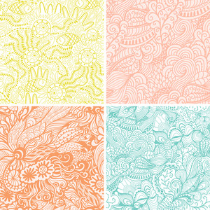 Vector Set Of Four Seamless Hand-drawn Pattern