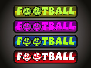 Vector Set Of Four Soccer Sport Header