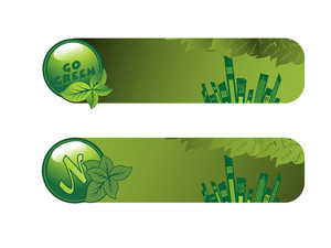 Vector Set Of Go Green Banner