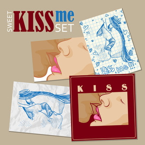 Vector Set Of Greeting Cards With Boy And Girl Kissing