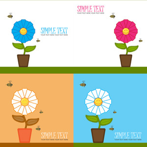 Vector Set Of  Greeting Cards With Funny Flower And Bee.