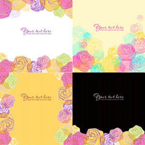 Vector Set Of Greeting Cards With Stylized Roses