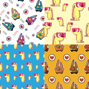 Vector Set Of Seamless Patterns With Cartoot Bannys.