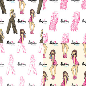 Vector Set Of Seamless Patterns With Fashion Girls.