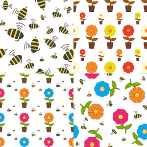 Vector Set Of Seamless Textures With Cartoon Flowers And Bees