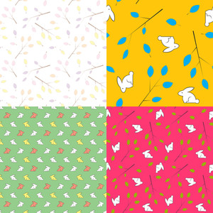Vector Set Of  Seamless Textures With Leafs And Rabbits