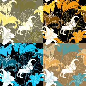 Vector Set Of Seamless Texturs With Lillia Flowers.