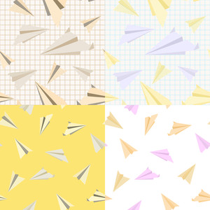 Vector Set Of Seamless Texturs With Paper Planes.