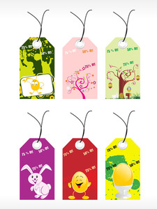 Vector Set Of Six Easter Tags