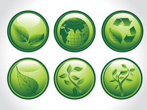 Vector Set Of Six Go Green Concept Icons