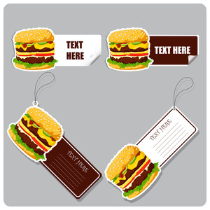 Vector Set Of Tags And Stickers With Burgers.
