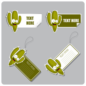 Vector Set Of Tags And Stickers With Cactus.