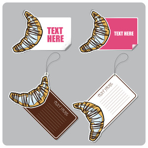 Vector Set Of Tags And Stickers With Cartoon Croissants.