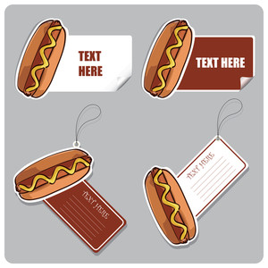 Vector Set Of Tags And Stickers With Hotdogs.