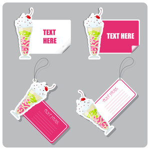 Vector Set Of Tags And Stickers With Milkshake .