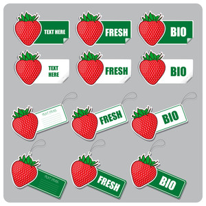Vector Set Of Tags And Stickers With Strawberries