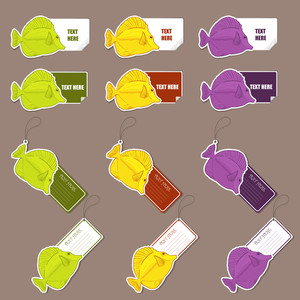 Vector Set Of  Tags And Stickers With Tropical Fishs.