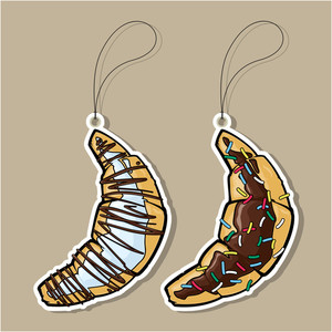Vector Set Of Tags With Cartoon Croissant.