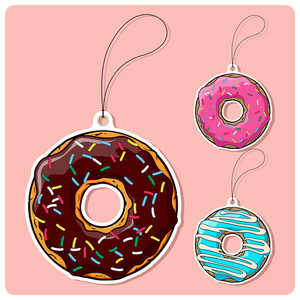 Vector Set Of Tags With Donut.