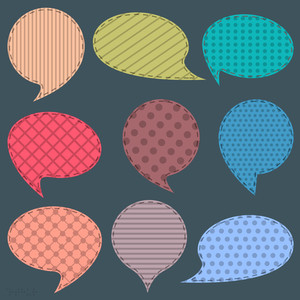 Vector Set Of  Textile Speech Bubbles